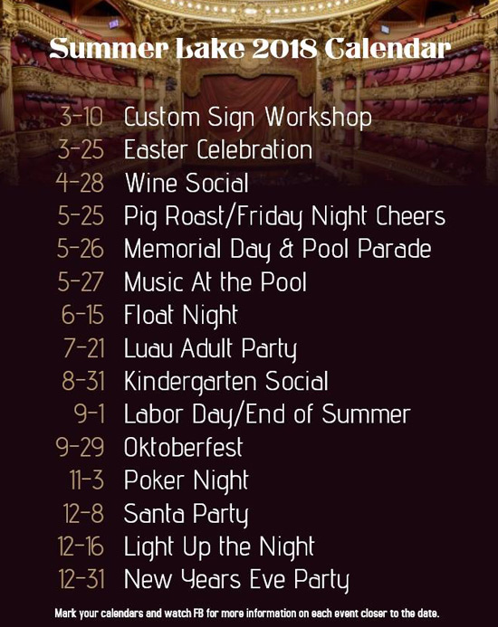 Summer Lake 2018 Event Calendar